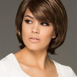 Red And Gray Synthetic Wig Basic Cap Rooted For Women