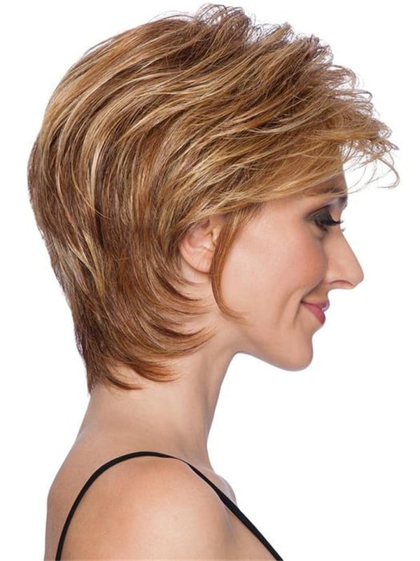 Black And Gray Short Hf Synthetic Wig Basic Cap For Women