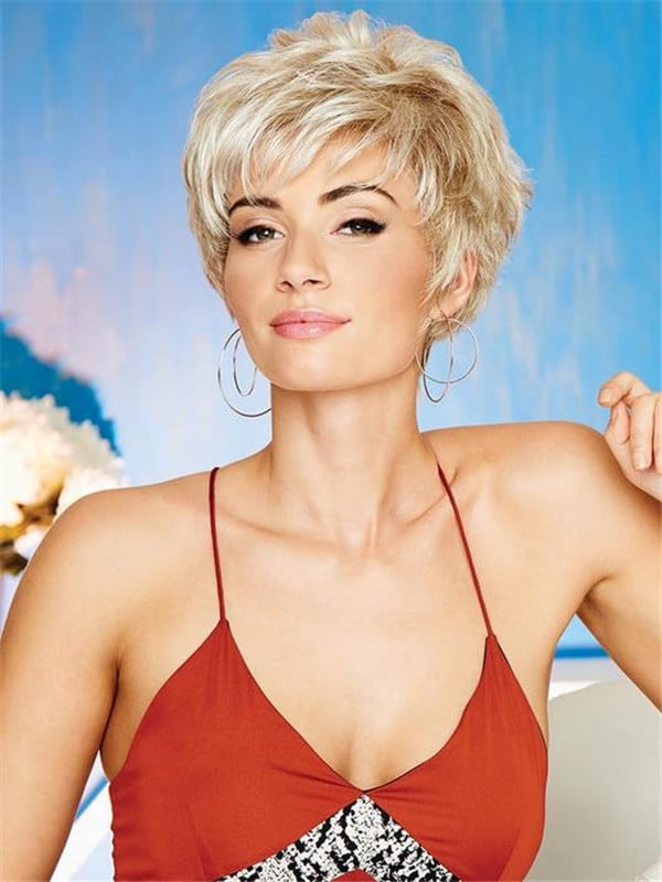Gray And Red Synthetic Wig Basic Cap Layered For Women