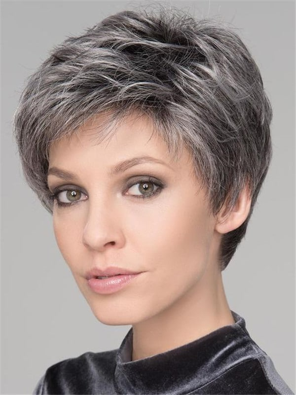 Black And Gray Synthetic Lace Front Wig For Women
