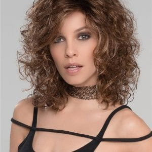 Black Curly Synthetic Lace Front Wig Rooted For Women