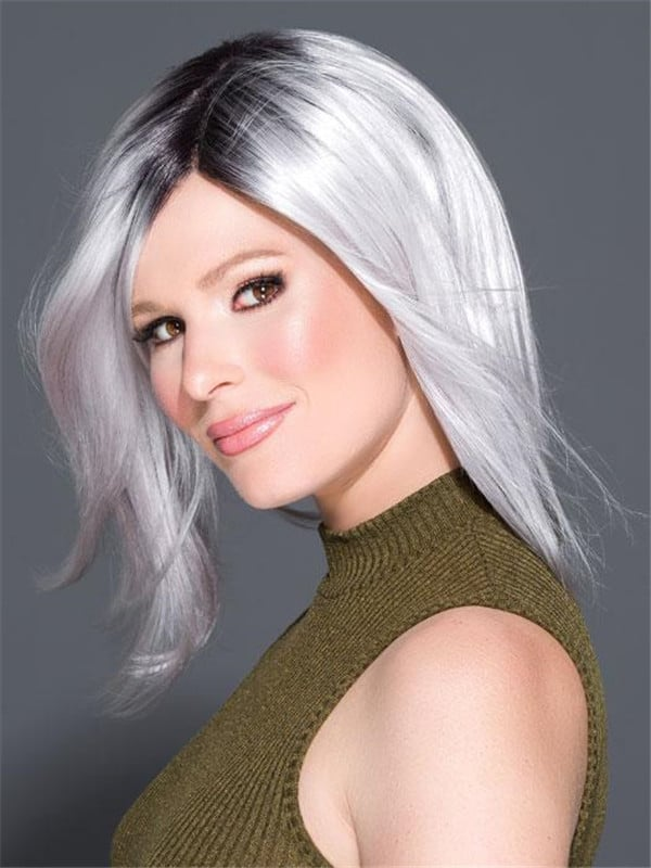 Colored Brunette Synthetic Lace Front Wig Mono Part