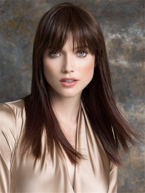 Human Hair Synthetic Blend Clip In Bangs Rooted