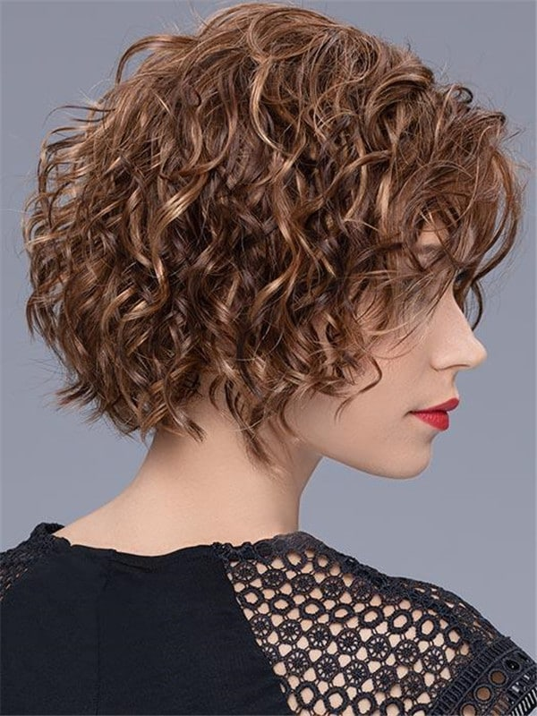 Red And Black Curly Synthetic Lace Front Wig Rooted