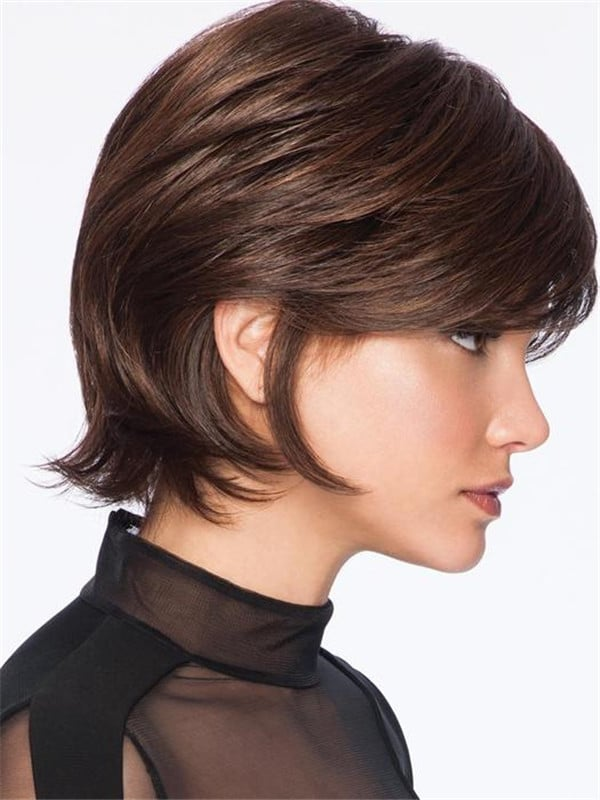 Black And Gray Hf Synthetic Wig Basic Cap For Women