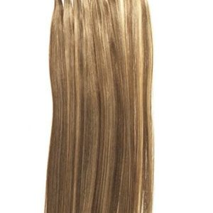 Blond And Brown Silky Straight Human Hair Extensions