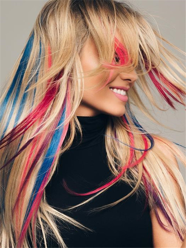 Pink Human Hair Extension Strips Clip In Color