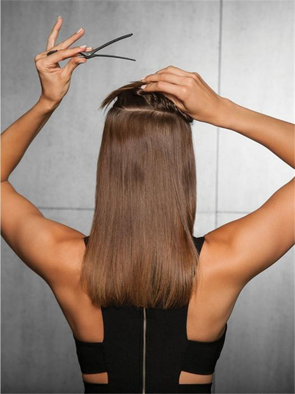Blond And Brown Straight Synthetic Hair Extensions Kit Clip In