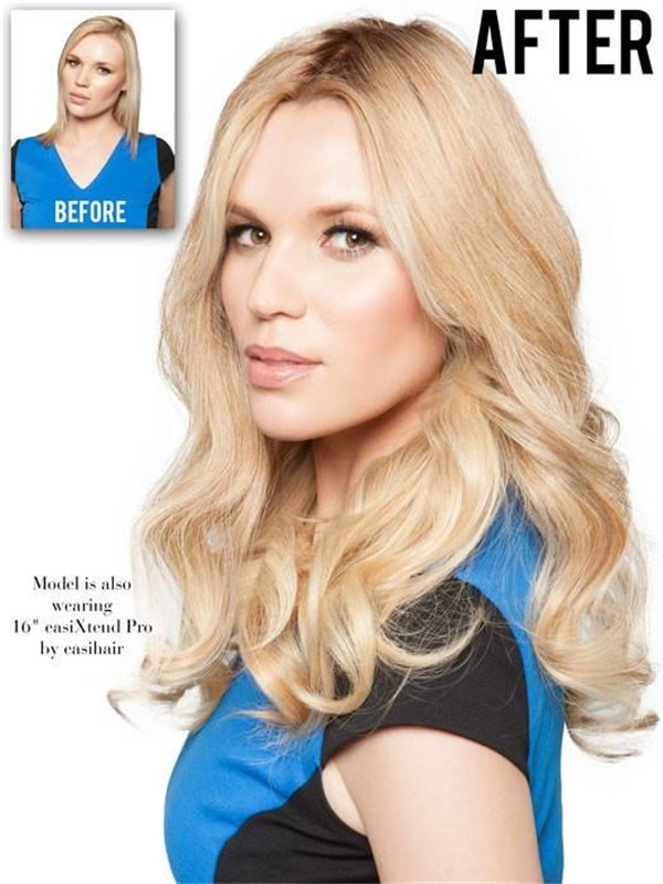 """black and blond 18"""" Top Form Human Hair Topper Half"""