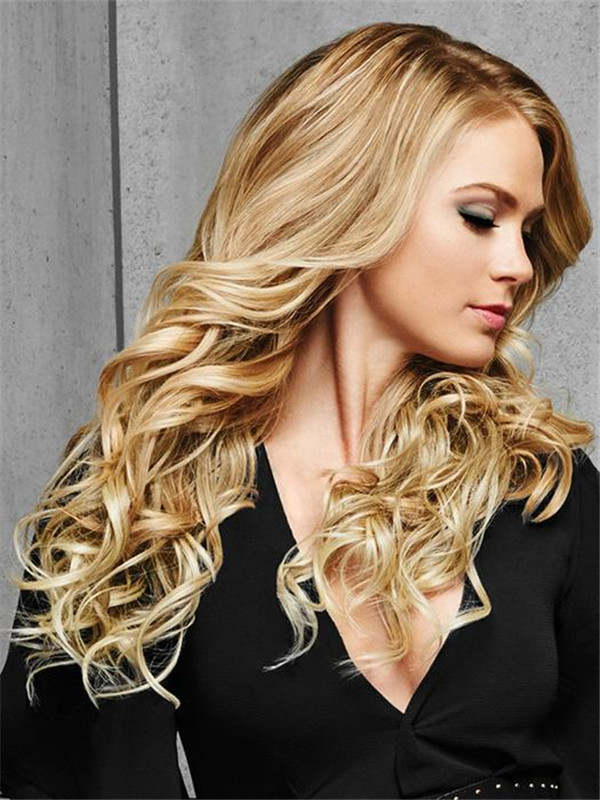 Blond And Brown Curly Hf Synthetic Clip In Extension