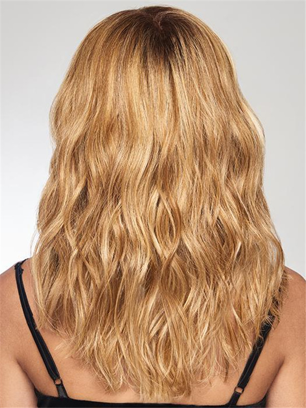 Blond And Brown Alpha Wave Synthetic Hair Topper Half