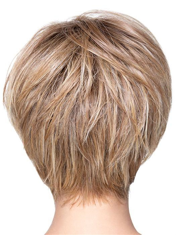 Black And Blonde Angled Pixie Synthetic Wig Basic Cap