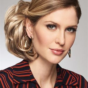 Blond Synthetic Hair Bun Interlocking Clips Half