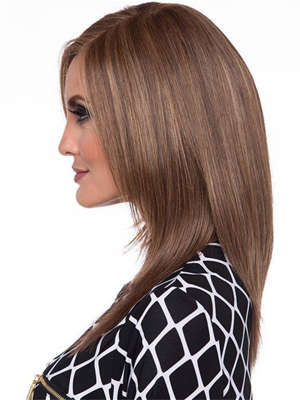 Blonde And Black Lace Front Human Hair Synthetic Blend Wig