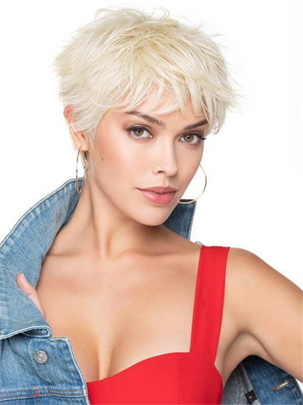 Black And Blonde Brushed Pixie Synthetic Wig Basic Cap