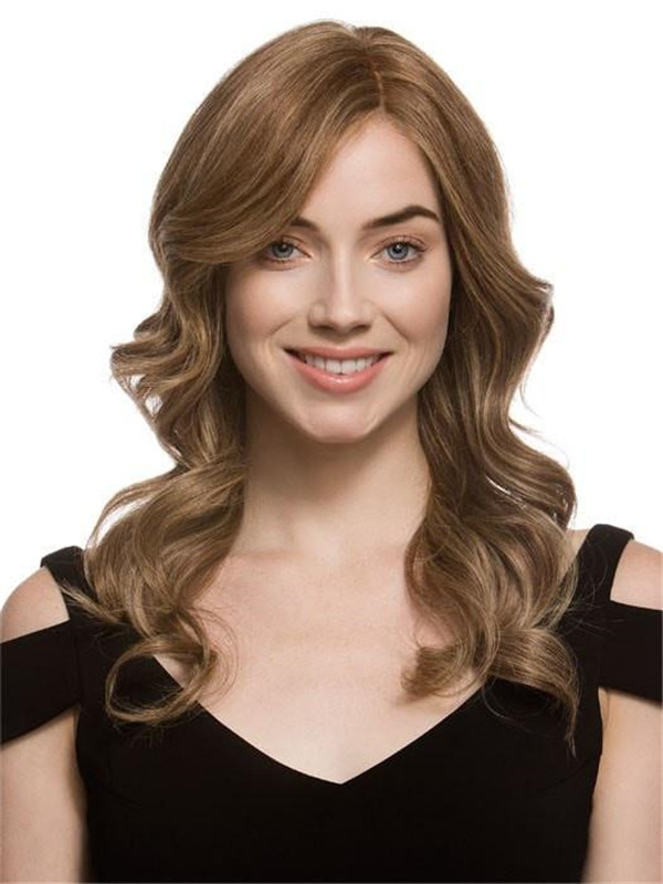 Blonde Red Cascade Human Hair Lace Front Wig For Women