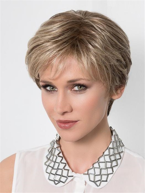 Blond And Brown Synthetic Lace Front Hair Topper Half