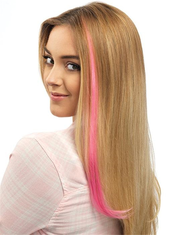Color Strip HF Synthetic Hair Extension Clip In