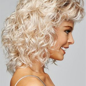 Black And Blonde Curl Synthetic Lace Front Wig For Women
