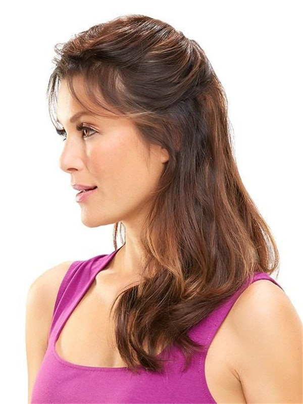 Blond And Brown Easipart Human Hair Topper Mono Top Half
