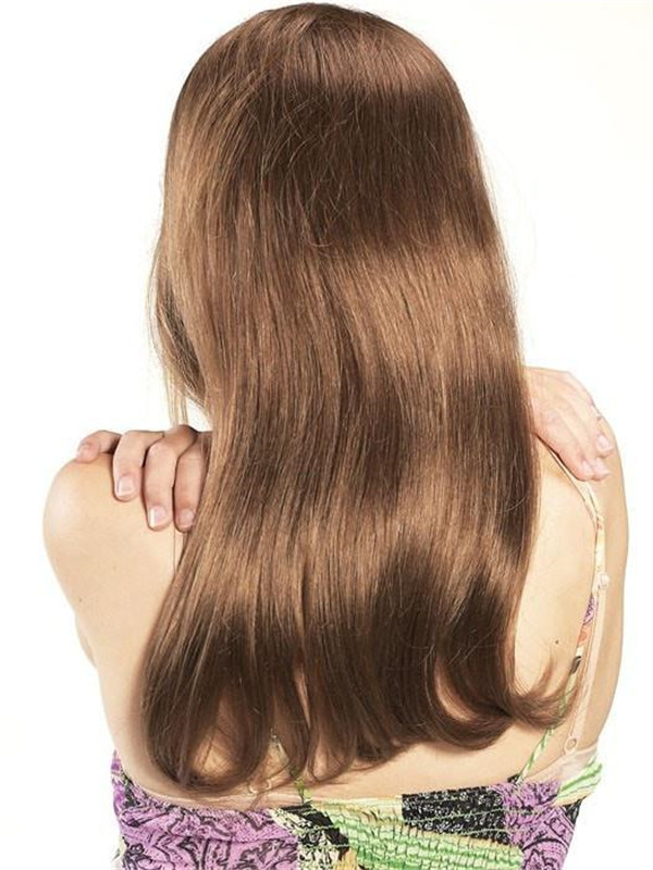 Blond And Brown Human Hair Half Wig Clip In Half