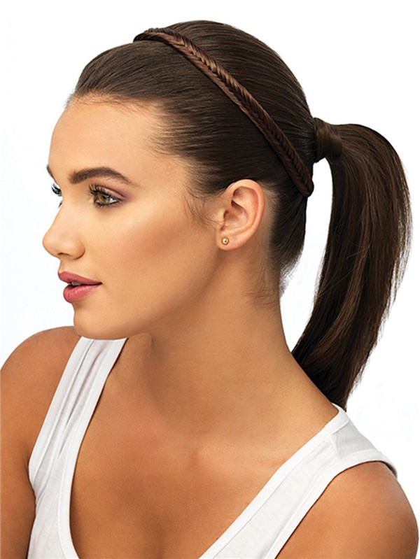 Brown Fishtail Braid Synthetic Headband All Hairpieces