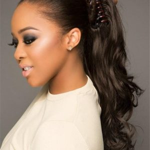 Black Synthetic Ponytail Clip In All Hairpieces