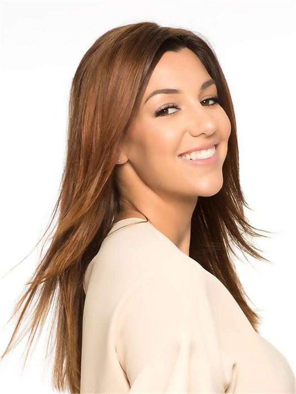Blond And Brown Front Line Human Hair Topper Half