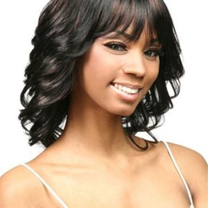 Black Synthetic Wig Basic Cap Mid-length For Women