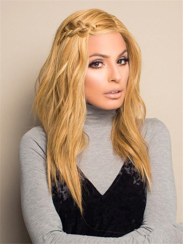 Blonde And Red High Fashion Human Hair Lace Front Wig For Women