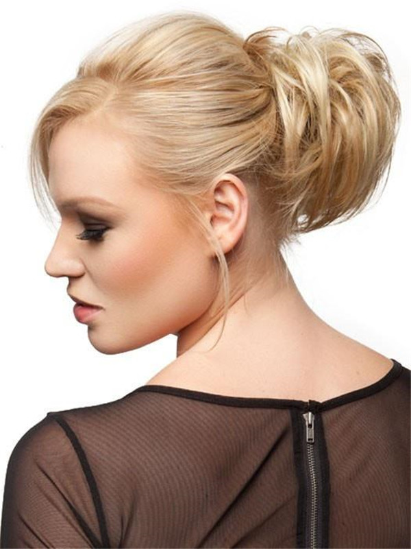 Brown And Gray Highlight Synthetic Hair Wrap Buns
