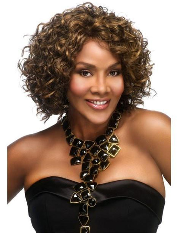 Black And Blond Hw370 Synthetic Half Wig Half