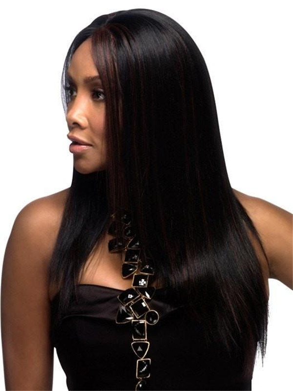 Red And Black Synthetic Lace Front Wig Basic Cap For Women
