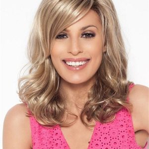 Black And Blonde Synthetic Lace Front Wig Basic Cap For Women
