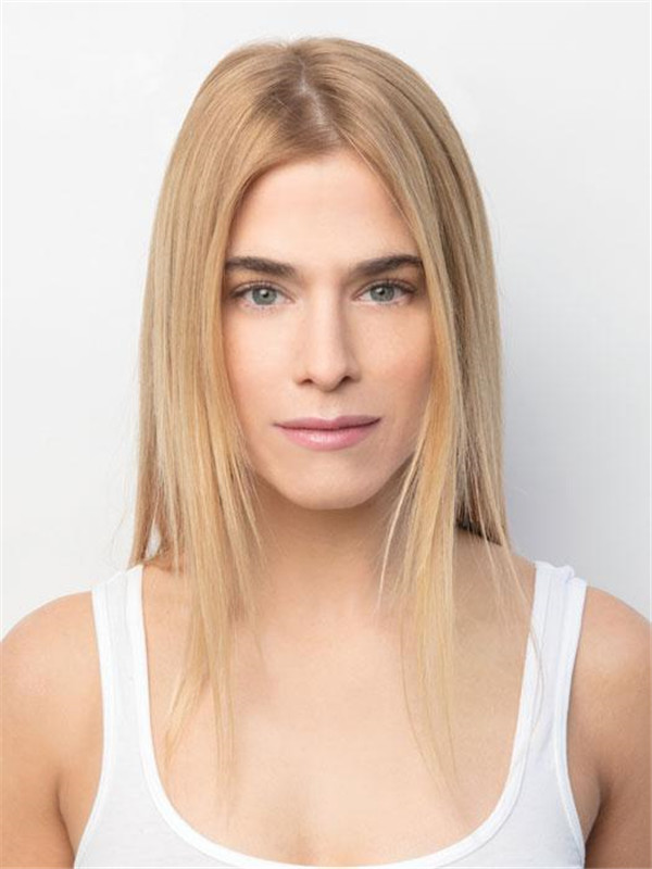 Blond Ansd Brown Synthetic Lace Front Top Piece Rooted Half