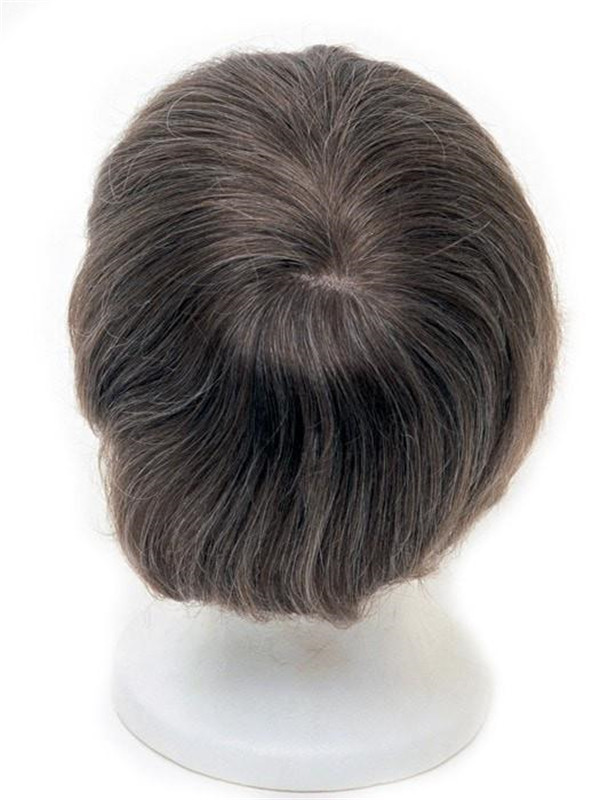 Brown Men's System Human Hair Topper All Hairpieces