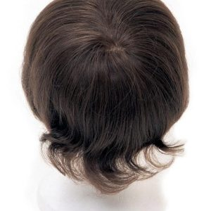 Black And Brown Men's System Human Hair Topper Half