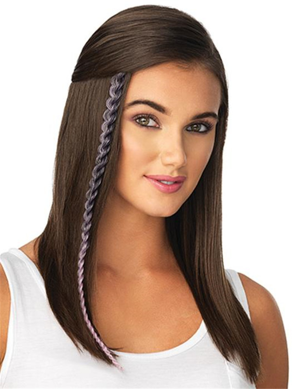 Metallic Braid Synthetic Hair Extension Clip In Color