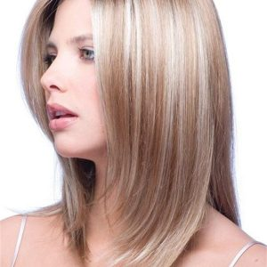 Blond And Brown Gradient Synthetic Hair Half Topper Rooted