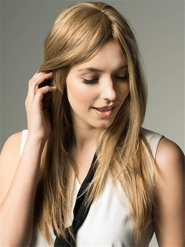 Blond Wiglet Human Hair Top Piece Half Rooted