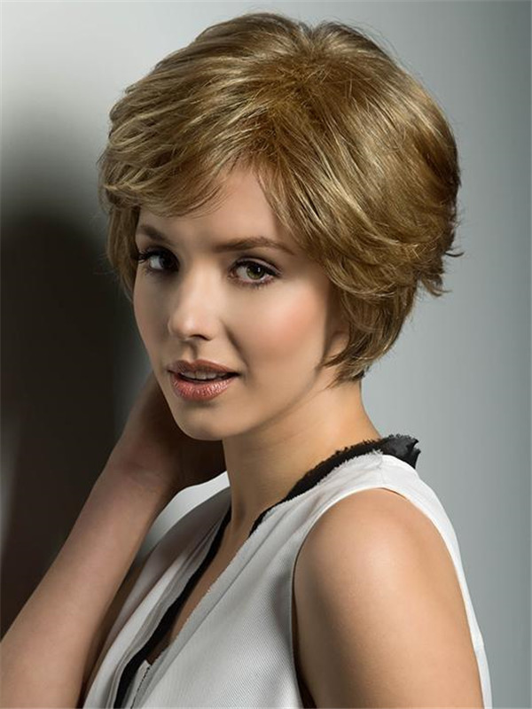 Blond And Brown Synthetic Lace Front Hair Piece Rooted