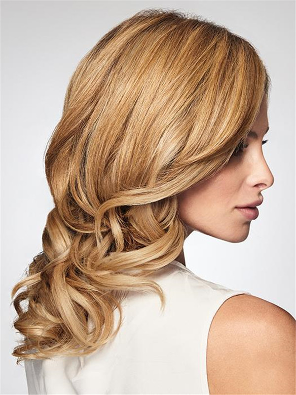 Blond And Brown On The Synthetic Hair Topper Half