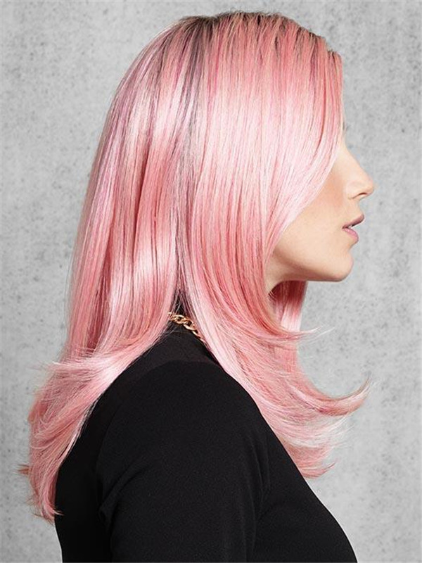 Pinky Synthetic Wig Basic Cap Rooted For Women