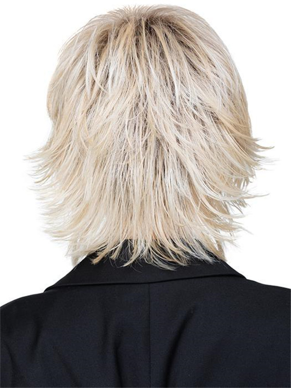 Black And Blonde Razor Synthetic Wig Basic Cap For Women