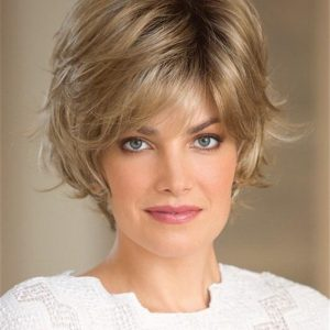 Gray And Blonde Short Synthetic Wig Rooted For Women