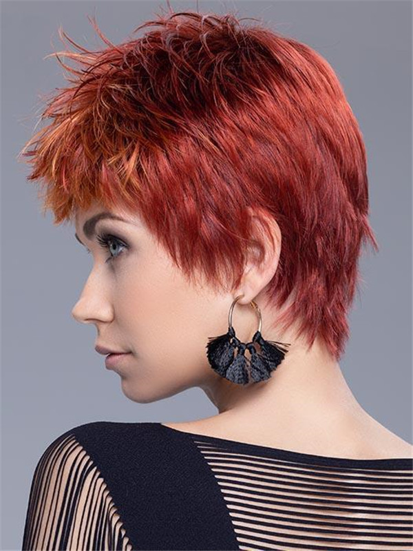 Red And Black Snap Synthetic Wig Rooted For Women