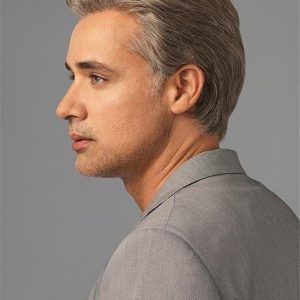 Gray Sophistication Synthetic Lace Front Wig For Men
