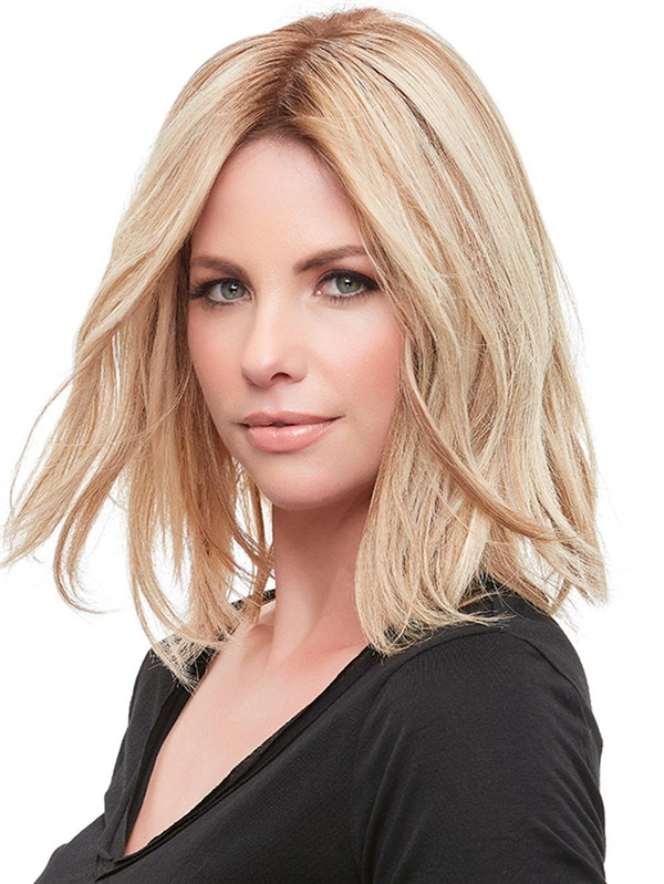Blond And Brown Top Form French Human Hair Topper Half