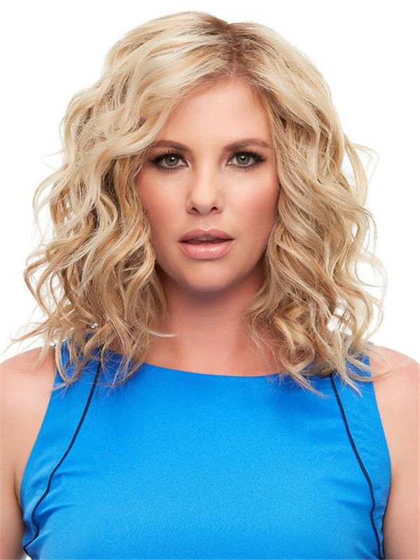 Blond And Brown Top Remy Human Hair Topper Half