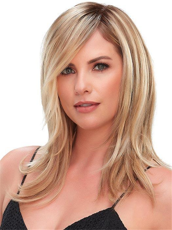 Blond And Gray Top Full Synthetic Hair Topper Half Rooted